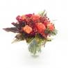 SFUMATURE DI PESCA: rose arancio, bacche e santini rossi