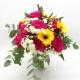 POZIONE MAGICA: rose rosa, veronica, gerbere gialle e santini bianchi