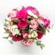 QUARZO ROSA: rose rosa, alstromelia e santini bianchi