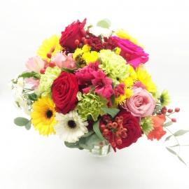 RISVEGLIO DEL MATTINO: rose gerbere alstromelia e garofani