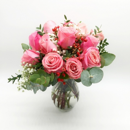 CIELO AL TRAMONTO: 12 rose rosa e bacche