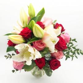 BOLLICINE: rose rosse, rose rosa e gigli