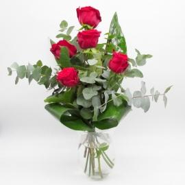 FRECCIA D'AMORE: 5 rose rosse