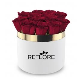 BOX CILINDRO BIANCO CON ROSE FRESCHE ROSSE