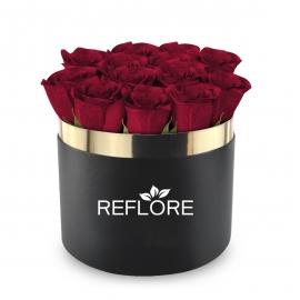BOX CILINDRO NERO CON ROSE FRESCHE ROSSE