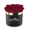 BOX CILINDRO NERO CON ROSE ROSSE