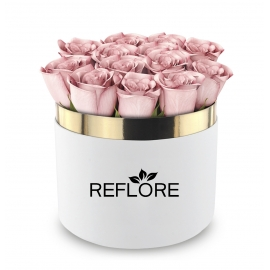 BOX CILINDRO BIANCO CON ROSE FRESCHE ROSA