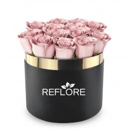BOX CILINDRO NERO CON ROSE FRESCHE ROSA