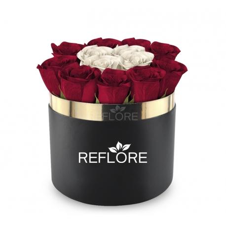 BOX CILINDRO NERO CON ROSE BIANCHE E ROSSE