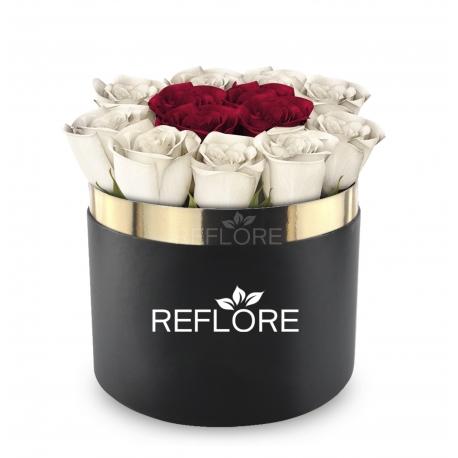 BOX CILINDRO NERO CON ROSE ROSSE E BIANCHE