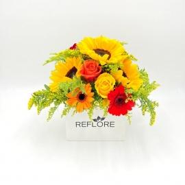 BOX BIANCA GELATO PROFUMATO: girasoli, rose e gerbere