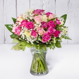 BOUQUET DI 30 ROSE ROSA E BIANCHE