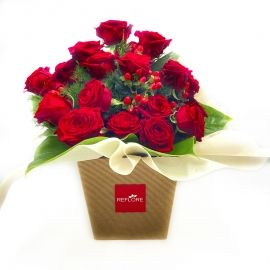 SOPHIA: bouquet fresh rosso con rose rosse