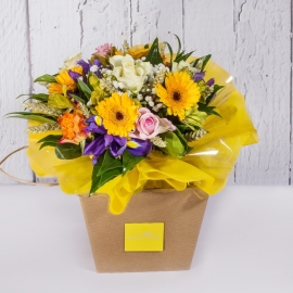 BOUQUET FRESH GIALLO DI GERBERE E ROSE