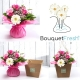 BOUQUET BLU CON ROSE E GIGLI