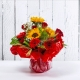 ANASTASIA: bouquet fresh rosso con Girasoli, Rose e Gerbere.