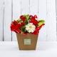 FRIDA: bouquet fresh rosso con Rose, Gerbere e Iperico.