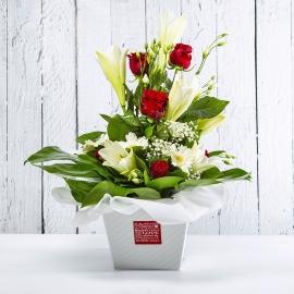 PERLA: bouquet fresh bianco con rose, lilium e gerbere