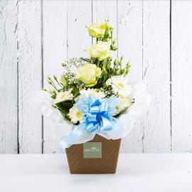 AZZURRA: bouquet fresh bianco con lisianthus, rose e gerbere