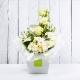 GIADA: bouquet fresh bianco con Lisianthus, Rose e Gerbere.