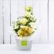DIAMANTE: bouquet fresh bianco con Lisianthus, Rose e Gerbere.
