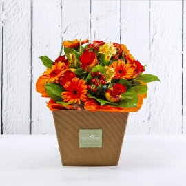 EDDA: bouquet fresh arancio con Rose e Gerbere.