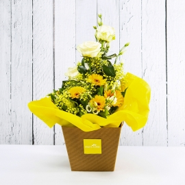 SOLE: bouquet fresh giallo con gerbere e lishianthus