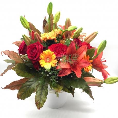 ZUCCA: bouquet autunno rose e lilium