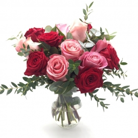 AMORE A DUE: rose rosse e rosa