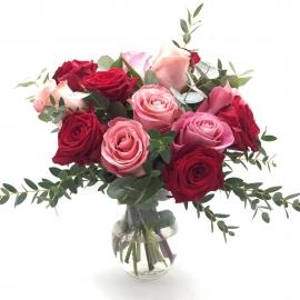 AMORE A DUE: rose rosse e rosa